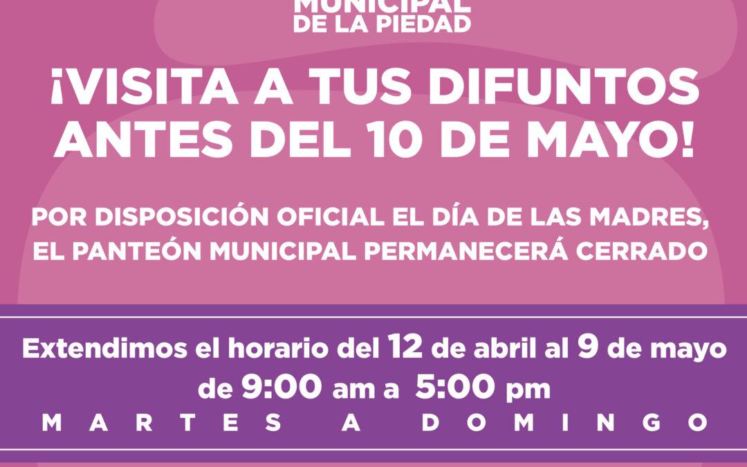 CONTROLARÁN INGRESO AL PANTEÓN MUNICIPAL POR EL DÍA DE LAS MADRES